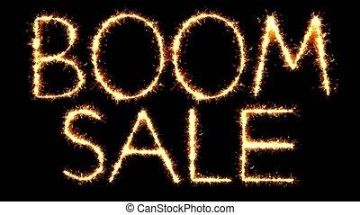 Boom Sale Text Sparkler Glitter Sparks Firework Loop...