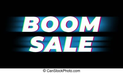 Boom Sale Text Vintage Glitch Effect Promotion .