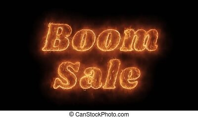 Boom Sale Word Hot Animated Burning Realistic Fire Flame...