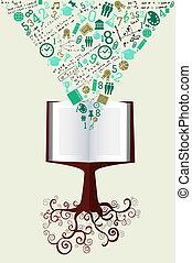 boom., school, iconen, back, boek, groene, opleiding