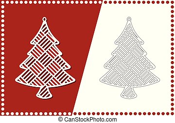 boom., speelbal, laser, illustration., moderne, jaar, vector, nieuw, cutting., kerstmis