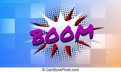 Boom text on speech bubble against boxes moving on blue ...
