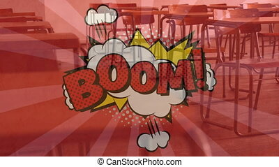 Boom text on speech bubble against empty classroom - ...