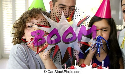 Boom text on speech bubble against family blowing party ...
