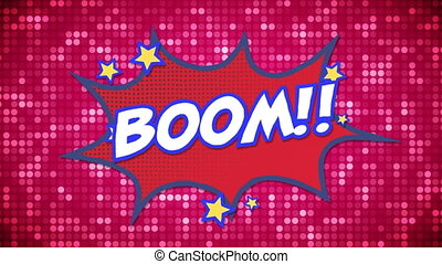 Boom text on speech bubble against glowing dots on pink ...