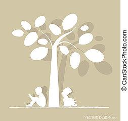 boom., vector, illustration., lezen, boek, achtergrond, onder, kinderen