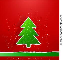 boom., vector, illustration., papier, groene, kerstmis kaart