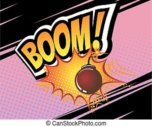 Vector Retro Comic Speech Bubble - Boom. Vector Retro Comic...