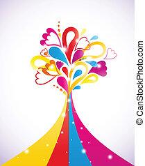 boom., vector, schilderij, kleurrijke, illustratie