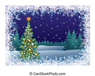 boom winter, landscape, kerstmis