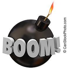 Boom Word Round Bomb Explosion Warning Danger