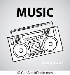 boombox, schizzo, illustrazione, disegno, vettore, retro