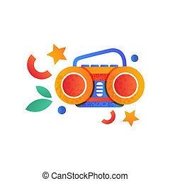 Boombox, summer camping element vector Illustration on a white background