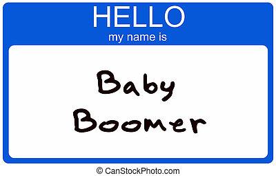 boomer, nametag, bebé