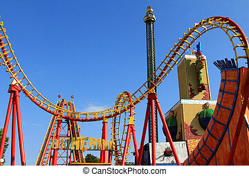 Boomerang - A Roller coaster track in Red and Yellow at...