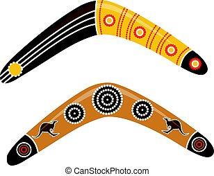 boomerang, australien, vector.