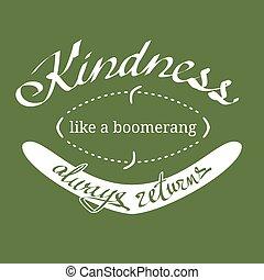 boomerang, gentillesse, vecteur, aimer, citation
