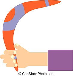 Boomerang in hand flat design