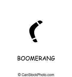 boomerang, vecteur, plat, icône