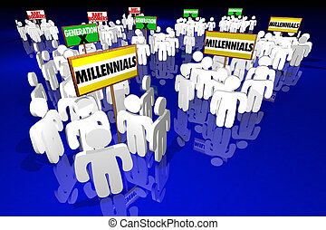 boomers, 人々, 世代, イラスト, millennials, サイン, 赤ん坊, x, 3d