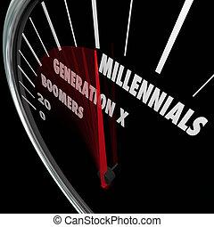 boomers, generación, edades, millennials, bebé, x, velocímetro