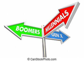 boomers, ilustración, millennials, geration, señales, bebé, ...
