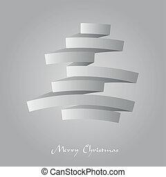 boompje, abstract, ineengevouwen , illustratie, papier, vector, kerstmis
