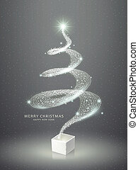 boompje, abstract, kerstmis, het fonkelen, elegant