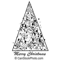 boompje, abstractie, decoratief, achtergrond, kerstmis