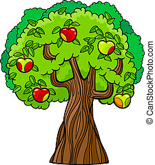 boompje, appel, illustratie, spotprent