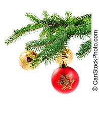 boompje, bal, vacht, kerstmis, hangend
