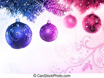 &, boompje, baubles, kerstmis