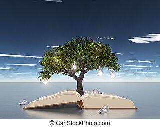 boompje, boek, open, bol, licht
