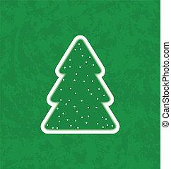 boompje, document knipsel, kerstmis, groene