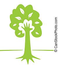 boompje, en, hand, -, milieu, creatief, ontwerp