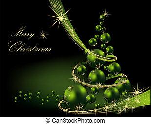 boompje, groene, kerstmis, goud