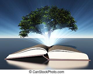 boompje, grows, uit, van, opengeslagen boek