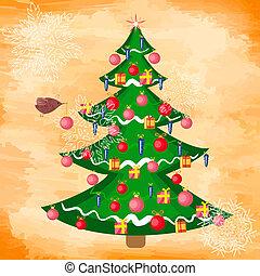 boompje, grunge, kerstmis, achtergrond