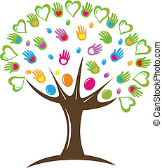 boompje, hartjes, en, handen, symbool, logo