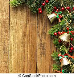 boompje, hout, verfraaide, grens, kerstmis, paneling