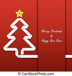 boompje, ineengevouwen , papier, mal, kerstmis kaart