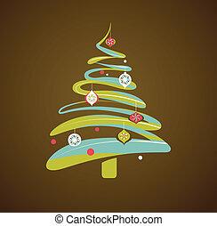 boompje, kerstmis, achtergrond, kerstmis