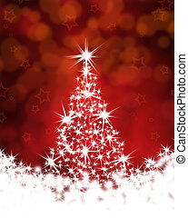 boompje, kerstmis, achtergrond, rood