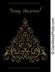 boompje, kerstmis, goud, openwork