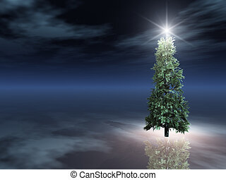 boompje, kerstmis, ijs, nacht