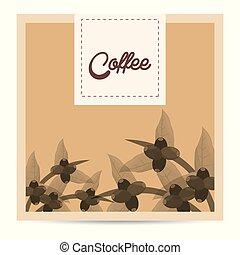 boompje, koffie, natuur, bonen, poster