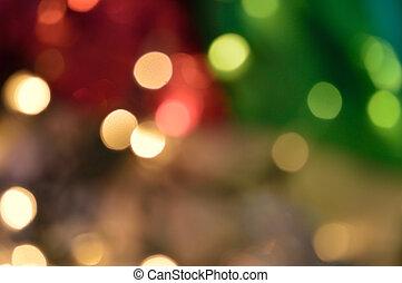 boompje, -, lichten, gloeiend, defocused, onder