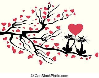 boompje, liefde, poezen, vector