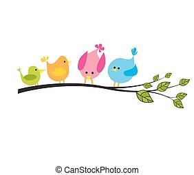 boompje, met, een, vogels
