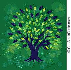 boompje, met, groene achtergrond